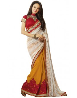 Multi-Colour Georgette Half & Half Saree  - 18543