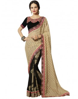 Ethnic Wear Beige & Black Georgette Saree  - 18546