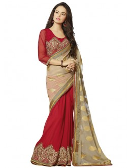 Beige & Red Georgette Half & Half Saree  - 18547