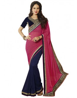 Traditional Pink & Blue Georgette Saree  - 18548