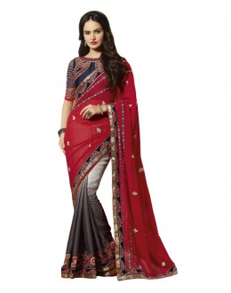Party Wear Multi-Colour Georgette Saree  - 18549
