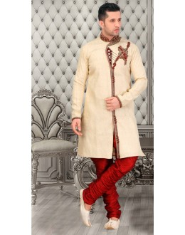 Wedding Wear Cream Brocade Sherwani - 18554