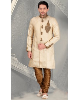 Readymade Cream Brocade Sherwani - 18556