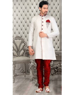 Traditional White Brocade Sherwani - 18558