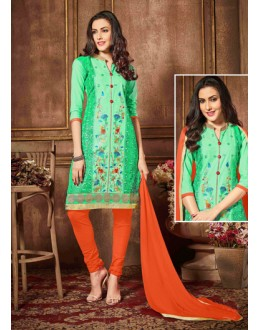 Casual Wear Green Glaze Cotton Salwar Suit - 18621