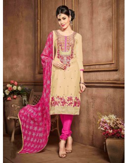 Festival Wear Beige Glaze Cotton Salwar Suit - 18622