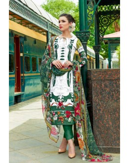 Office Wear White & Green Cambric Cotton Salwar Suit - 18810