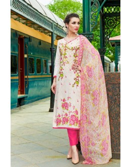 Ethnic Wear Off White Cambric Cotton Salwar Suit - 18818