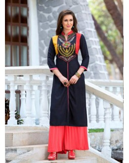 Festival Wear Readymade Black Rayon Tunic - 18873
