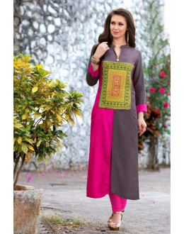 Ethnic Wear Readymade Pink & Grey Rayon Tunic - 18877