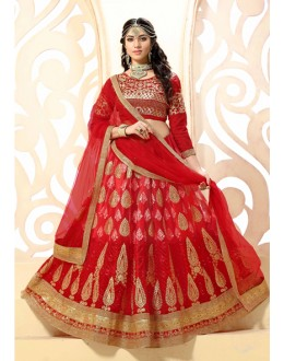 Bridal Wear Red Net Lehenga Choli - 18970