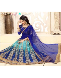 Bridal Wear Blue Net Lehenga Choli - 18979