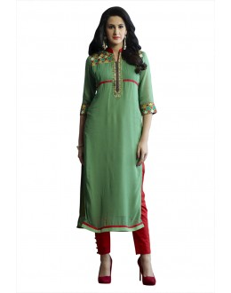 Office Wear Readymade Green Pure Georgette Tunic - 18996