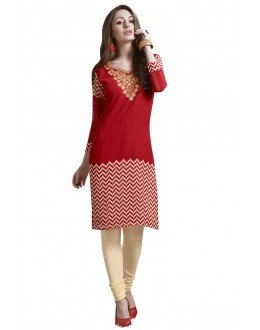 Party Wear Readymade Red Georgette Tunic - 19005