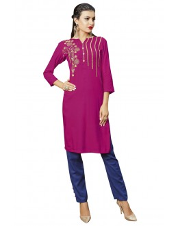 Readymade Pink Colour Rayon Tunic - 19006