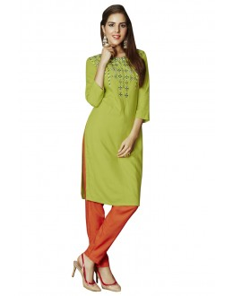 Green Colour Readymade Rayon Tunic - 19007