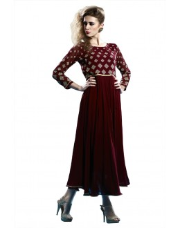 Party Wear Readymade Maroon Pure Georgette Tunic - 19009