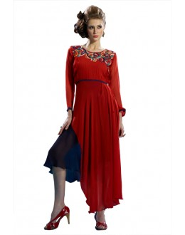 Fancy Readymade Red Pure Georgette Tunic - 19014