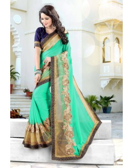 Festival Wear Green Soft Chiffon Saree  - 19031