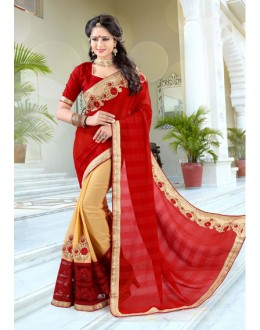 Red & Gold Chiffon Half & Half Saree  - 19032