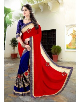 Red & Blue 60 Grm Georgette Half & Half Saree  - 19035