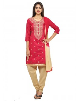 Festival Wear Red Glace Cotton Salwar Suit - 19063