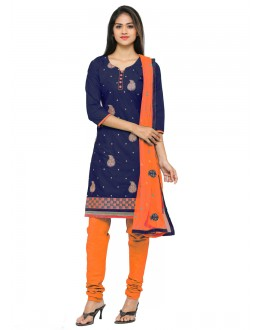 Office Wear Blue Glace Cotton Salwar Suit - 19065