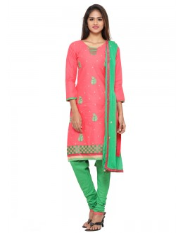 Office Wear Pink Glace Cotton Salwar Suit - 19066
