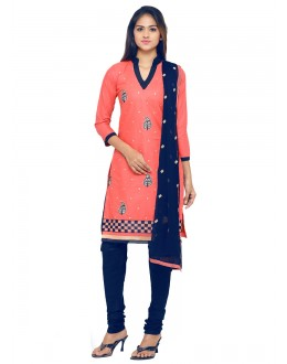Festival Wear Peach Glace Cotton Salwar Suit - 19067