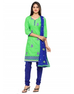 Ethnic Wear Green Glace Cotton Salwar Suit - 19068