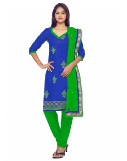 Ethnic Wear Blue Glace Cotton Salwar Suit - 19072