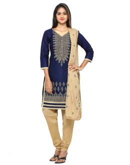 Ethnic Wear Blue Cotton Salwar Suit - 19075