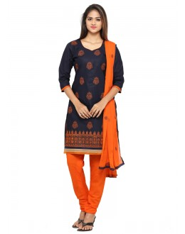 Festival Wear Navy Blue Cotton Salwar Suit - 19076