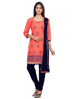 Festival Wear Peach Glace Cotton Salwar Suit - 19079