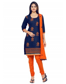 Office Wear Blue Chanderi Salwar Suit - 19082