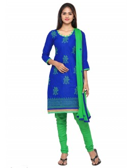 Casual Wear Blue Glace Cotton Salwar Suit - 19083