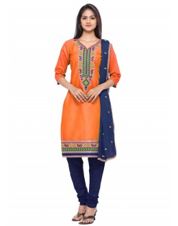 Ethnic Wear Orange Glace Cotton Salwar Suit - 19084