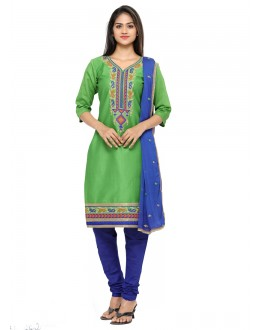 Office Wear Green Glace Cotton Salwar Suit - 19085