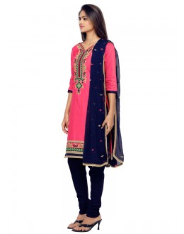 Festival Wear Pink Glace Cotton Salwar Suit - 19086