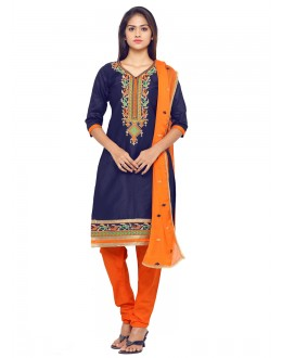 Party Wear Blue Glace Cotton Salwar Suit - 19087