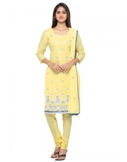 Office Wear Yellow Glace Cotton Salwar Suit - 19088