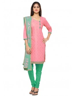 Office Wear Pink Glace Cotton Salwar Suit - 19089
