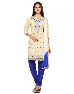 Ethnic Wear Cream Glace Cotton Salwar Suit - 19092