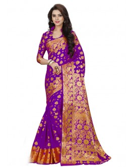 Party Wear Purple Silk Saree  - 19194
