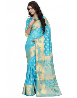 Festival Wear Sky Blue Silk Saree  - 19196