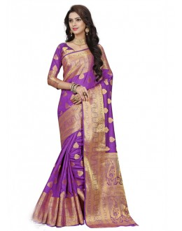 Wedding Wear Purple Silk Saree  - 19197
