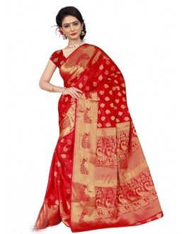 Red Colour Attractive Silk Printed Saree  - 19200