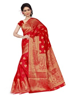Wedding Wear Red Silk Saree  - 19201