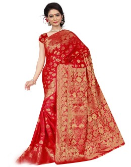 Designer Red Silk Printed Saree  - 19202