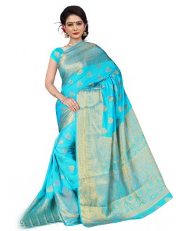 Sky Blue Colour Silk Printed Saree  - 19204